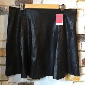 Spanx Faux Leather Skater Flouncy Skirt XL Black